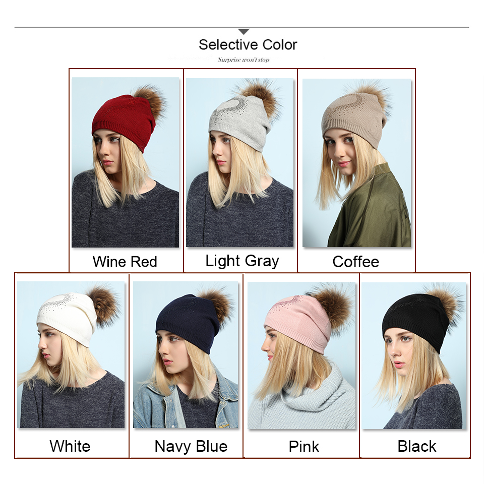 Ralferty 2018 New Real Fur Pompom Hats For Women Heart Pom Pom Beanies Thick Warm Wool Knitted Hat Women's Baggy Caps Bonnet 1