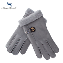 Athena Special Winter Fashion Women Woolen Gloves Real Leather Wool Fur Girl's Sheepskin Gloves Quality Women Gloves For Lady(China)