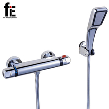 FITINTOEVERYWAY Shower Faucet Set Bathroom Thermostatic Faucet Chrome Finish Mixer Tap Automatic Temperature Control Water Valve(China)