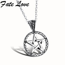 Fashion Movie Collection 316L Stainless Steel Unisex Pentagram Pendant Hollow Necklace Personality Gift FL971(China)