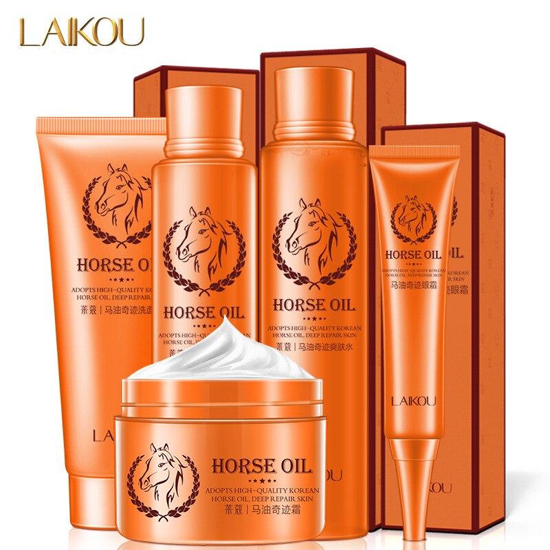 LAIKOU Horse Oil Skin Care 5 in 1 Kit Facial Cream Eye Cream Facial Cleanser Lotion Toner Whiten Skin Moisturizing Deep Repair