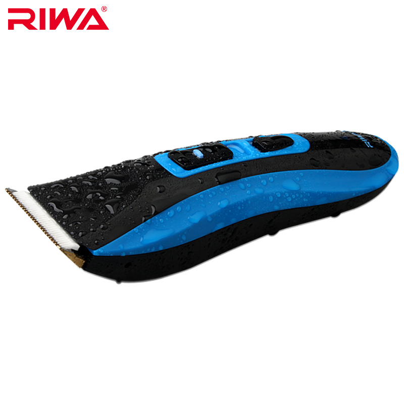 Riwa RE-750A high quality CE certificated 7 level waterproof professional hair trimmer blue color Cordless hair clipper<br>