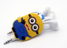 Despicable Me Minions Hello Kitty  Cartoon In-ear Wired 3.5 mm Earphone for MP3 MP4 Mobile Phone With Earplug Cover EP338