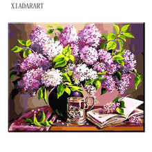 8036 Europe purple flower Vase DIY Painting By Numbers Home Decor Wall Artwork Handpainted Oil Painting For Living Room