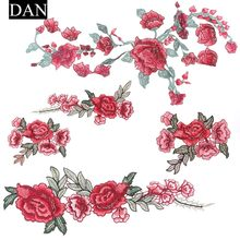 1 pc Resplendent Flower Red Patches Rose Blossom Applique Embroidery Patch Fabric Sew-on Patch Cloth Accessories(China)