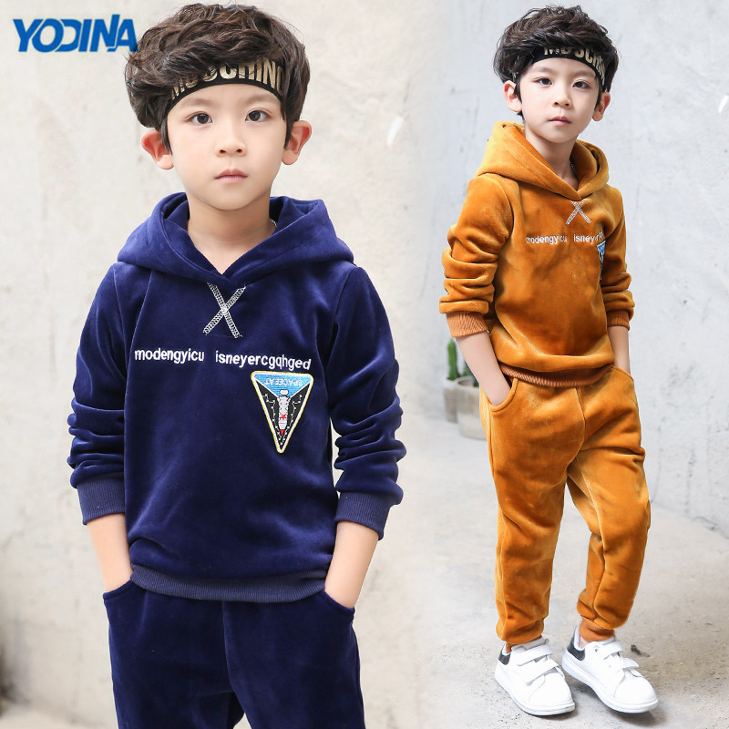 YODINA Boys Clothing Set boys Hooded Pullovers+Pants Autumn Winter Children Thicken Sport Suit Set Kids Gold Velvet Tracksuit <br>