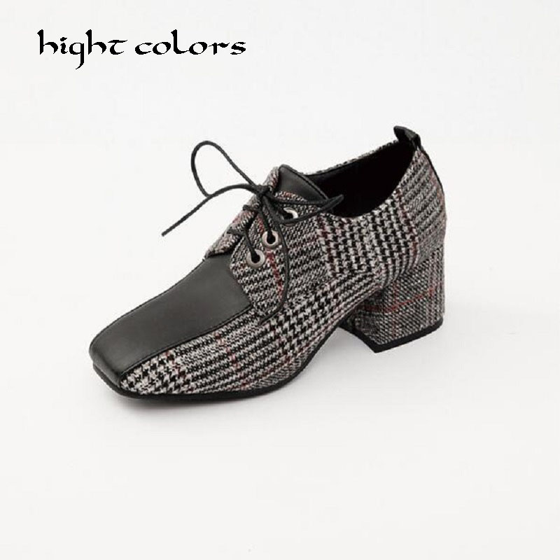 British Retro Plaid High Heels Women Fashion Pumps Stitching Lace Up Ladies Shoes Square toe Square Heels Cover Instep Footwear<br>