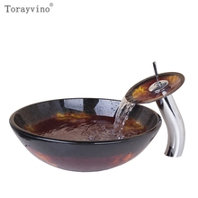 Torayvino US Tempered Glass Sink Painting Round Bowl Basin Sink With Waterfall Faucet Bathroom Washbasin Sink Vanity Faucet Set(China)