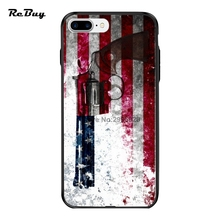 Ultra-thin Plating Button PC&TPU for Iphone 7/6plus Case Colt Python 357 Mag On American Flag Back Covers for Iphone 7Plus/6/6s(China)
