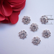 (J0019) 12mm rhinestone button without loop rhinstone cluster,silver or gold plating,flat back(China)