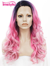 Imstyle loose Wavy Ombre Black Pink White bule Drag queen cosplay wigs 24 inches synthetic hair lace front wig for women(China)