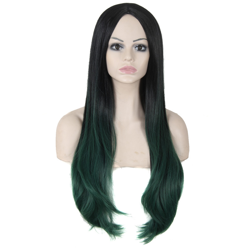 30 Ombre Celebrity Curly Wig Synthetic Long Curly Hair Ombre Green Wig African American Wigs For Black Women Cosplay Lolita Wig<br><br>Aliexpress