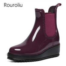 Rouroliu Women Fashion Platforms Rain Boots Elastic Band Thick Heels Rainboots Waterproof Water Shoes Ankle Wellies TR133(China)