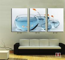 Canvas arts Modern aquarium fish blue painting for home decorative painting three panels free shipping