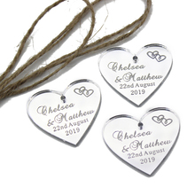 10pcs Personalized Engraved Silver Mirror Wedding Tags Leaves Tags Wine Gift Tag With Jute String Decoration Favors(China)