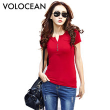 2017 New Summer T-shirts For Women Cotton Fashion T Shirt Women Button Female Plus Size Tops Tee