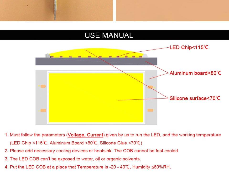 DC12V COB LED Strip Light Source 5W 10W 20W 50W 200W 300W LED Bulb White Blue Red Flip Chip COB Lamp DIY House Car Lighting 12V (24)