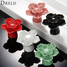 1Pc Furniture Handles Cabinet Knobs and Handles Ceramic Door Knob Cupboard Drawer Kitchen Pull Handle Lotus Design Home Decor