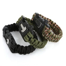 Outdoor Handmade Woven Rope Paracord Survival Bracelet Men With Scraper Whistle Fire Starter Pulseira Masculina Men Jewelry