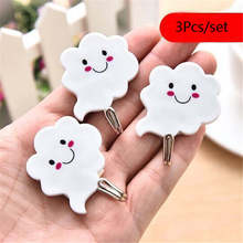 3Pcs White Cloud Sticky Hooks Wall-Mounted Suction Cup Key Clothes Organizer Holder Decorate Wall Door Strong Rack Hooks 2A0023(China)