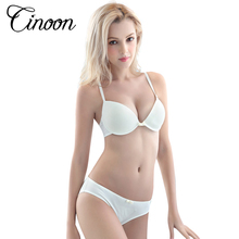 CINOON 2017 hot sale Sexy women's Solid color Smooth bra set push up Sexy Deep V 3/4 cup Seamless bra and Comfortable Panty set