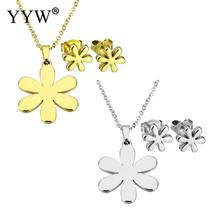 YYW Lovely Romantic Gold-color Stainless Steel Jewelry Sets Tiny Flower Stud Earring Chain Pendant Choker Necklace for woman