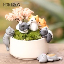 Hot sell 6 Pcs/Set Cute Cartoon Lazy Cats For Micro Landscape Kitten Landscape Home Garden Decorations Random Color(China)