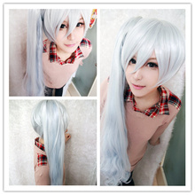MCOSER Cheap Price Synthetic 90cm long RWBY Weiss Schnee White One Ponytail  Cosplay Wig