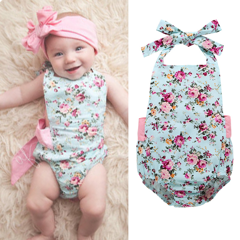 floral print sleeveless rompers for baby girl summer clothes backless bowknot blet Suspenders newborn girls jumpsuit new born