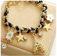 2016 Fashion Flower Love poker Eiffel Tower Bracelet Weave Charm Bracelet for Girls Women Star Anklets