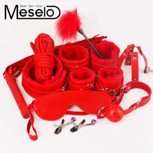 Buy Meselo 10 Pcs/lot BDSM Handcuffs Kit Set PU Leather Adult Games Sex Toys Couples Adult Sex Product Erotic Toys Handcuffs