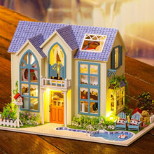 Miniatura villa Wooden Doll House Furniture Dollhouse Miniature Building Model Furniture Toys Romantic Garden 13838(China)