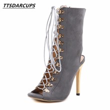 2018 Rome style Rivet shoes Cross strap High heel cool boots Gladiator fish mouth pump High heels 12.5CM Night shop sexy shoes(China)