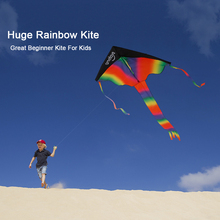 Big Rainbow Kite Long Tail Nylon Outdoor Baby Kids Kites Stunt Kite Surf with 50m Line Three Tails toys for Parents and Children(China)