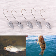 5pcs/lot Jig Lead hook 1.2g 2.5cm Metal fly fishing hook for Soft Lure worm fishing equipment vissen accessoires(China)