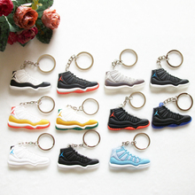 Mini Silicone Shoes Jordan 11 Keychain Key Chain Sneaker Car Key Holder Woman Men Bag Charm Accessories Key Rings Pendant Gifts