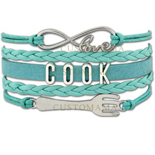 (10 PCS/Lot) Infinity Love Cook Bracelets For Women Fork Charm Bracelet Cook Chef Turquoises Wax Suede Leather Custom Jewelry(China)