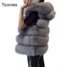 Women's Vest Hooded Cap Fur 2018 Fashion Luxury Thick Warm Vest Faux Fox Hair Coat Jacket Solid Color Fur Vests Women Coats