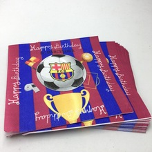 20pcs/lot football team napkins baby shower football team FCB paper napkins happy birthday party supplies football team tissue(China)