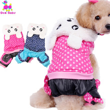 DOGBABY Dog Coat Warm Winter Dog Clothes Dot Pattern Cotton Rabbit Clothing For Dogs & Cats Rose Red Blue Color Pets Dog Outfit(China)