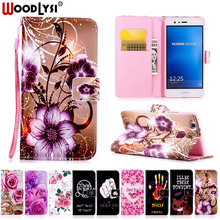 Woodlysi PU Leather Case For Huawei P8 P9 Lite Y5 II flower Pattern Cartoon Painted back cover flip stand wallet style case