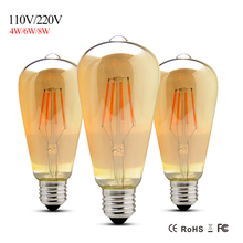 1PCS ST64 4W 6W 8W E27 Led Filament Bulb Lamp Clear Glass Cover Edison Style Lights For Indoor Home Lighting AC110V 127V 220V