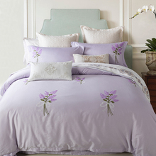 60S Cotton Lavender Bedding Set Thick line Embroidered bedroom Duvet Cover Set King Queen Size with Bed Sheet Pillowcase