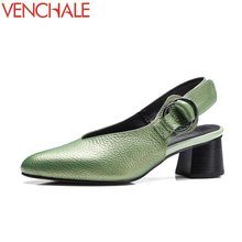Buy VENCHALE genuine leather shoes woman pumps hollow heels fashion modern pointed toe concise career autumn shoes large size for $39.60 in AliExpress store