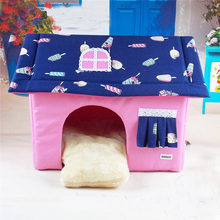 Foldable Beds For Dog House Pink Coffee Cute Puppy Animals Home With Mats Warm Kennel Pet Sleeping Goods For Chihuahua Yorkshire