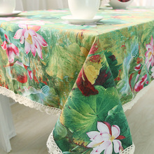 Dorping Chinese Classical Lotus Printed Linen Table Cloth Lace Edge Tablecloth Wedding Party Supply Toalha De Mesa Retangular(China)