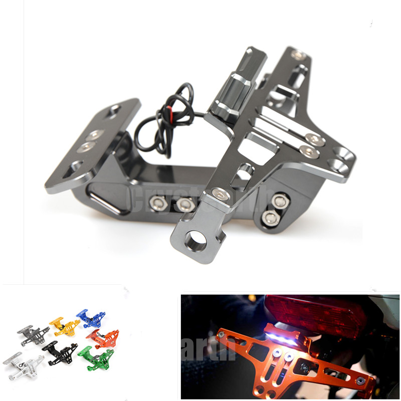 Motorcycle Rear License Plate Mount Holder w/ LED Light For Yamaha FZ1 Fazer FZ6R FZ8 XJ6 FZ6 MT-09 FZ-09 MT07 MT-07 MT10 XT660R<br>