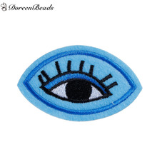 DoreenBeads 5PCs Polyester Patches Appliques DIY Scrapbooking Craft Blue Eye Pattern Clothes Bags Decoration 6.2cm x 3.8cm