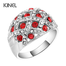Kinel Vintage Jewelry Engagement Rings For Women Silver Plated Retro Look Big Oval Red Austrian Crystal Ring(China)