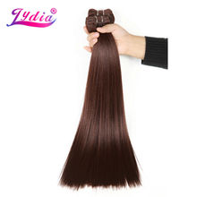 Lydia Synthetic Hair Extension 3Pieces/lot Straight Yaki Weaving 10-26 Inch Pure Color 33# 100% Futura Hair Bundles(China)